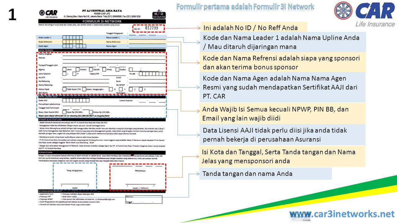 1 Formulir pertama adalah Formulir 3i Network