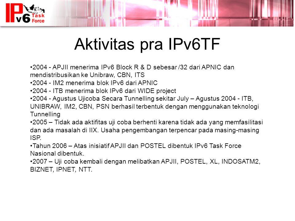 Aktivitas pra IPv6TF 2004 - APJII menerima IPv6 Block R & D sebesar /32 dari APNIC dan mendistribusikan ke Unibraw, CBN, ITS.