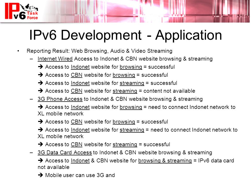IPv6 Development - Application