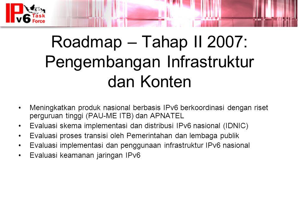 Roadmap – Tahap II 2007: Pengembangan Infrastruktur dan Konten