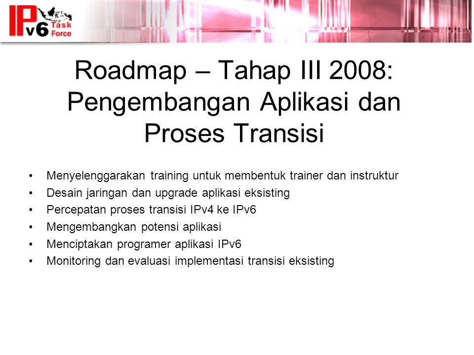 Roadmap – Tahap III 2008: Pengembangan Aplikasi dan Proses Transisi