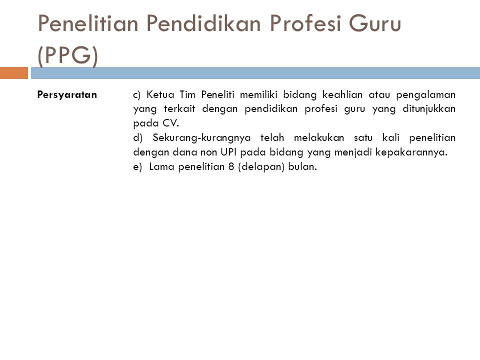 Penelitian Pendidikan Profesi Guru (PPG)