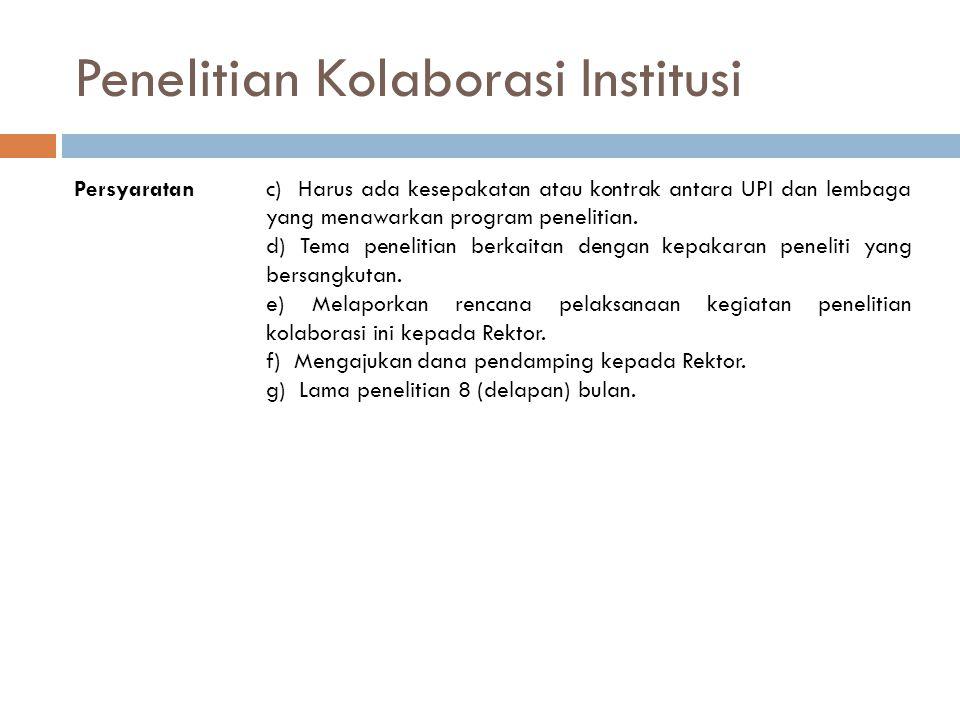 Penelitian Kolaborasi Institusi