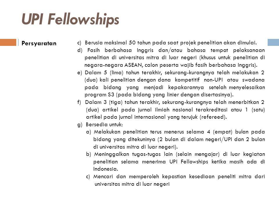 UPI Fellowships Persyaratan