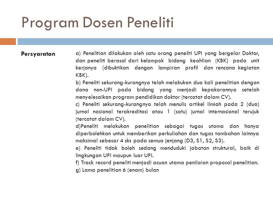 Program Dosen Peneliti