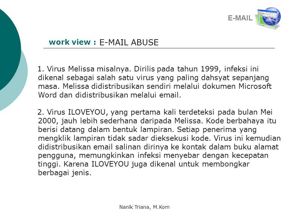 E-MAIL ABUSE E-MAIL work view :