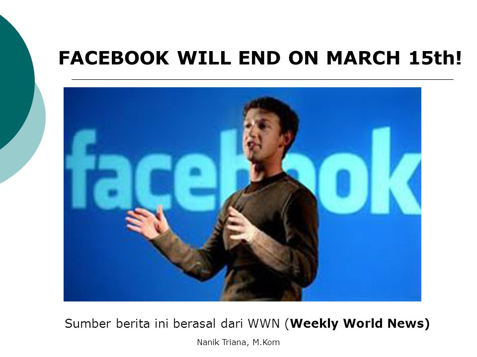 FACEBOOK WILL END ON MARCH 15th!