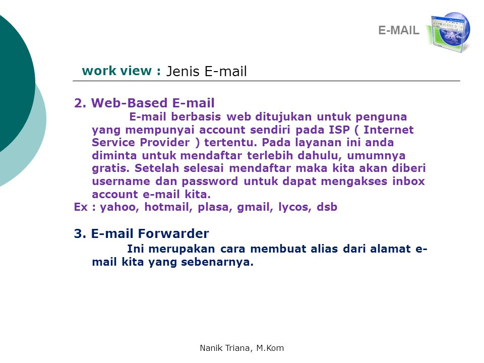 Jenis E-mail E-MAIL work view : 2. Web-Based E-mail