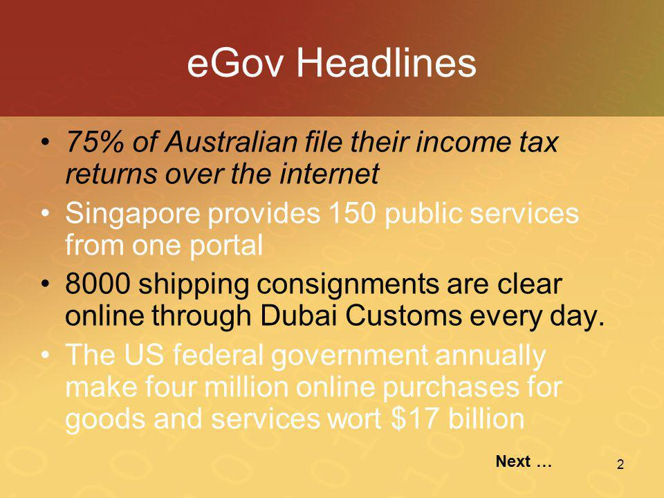 eGov Headlines 75% of Australian file their income tax returns over the internet. Singapore provides 150 public services from one portal.
