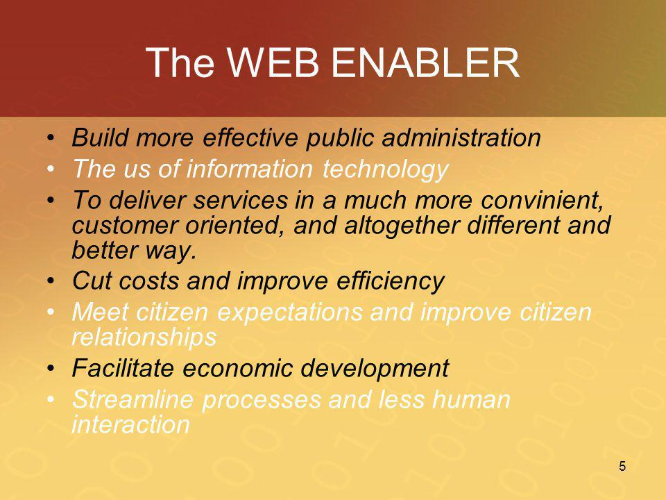 The WEB ENABLER Build more effective public administration