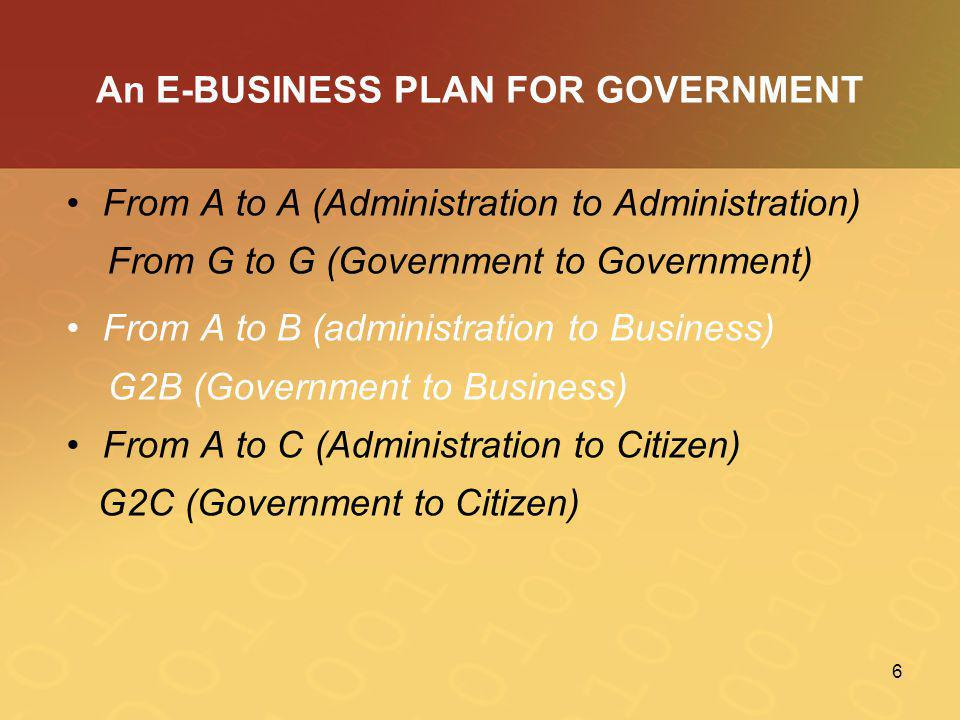 An E-BUSINESS PLAN FOR GOVERNMENT