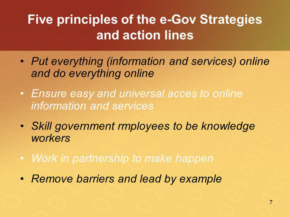 Five principles of the e-Gov Strategies and action lines