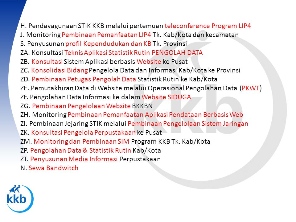 H. Pendayagunaan STIK KKB melalui pertemuan teleconference Program LIP4