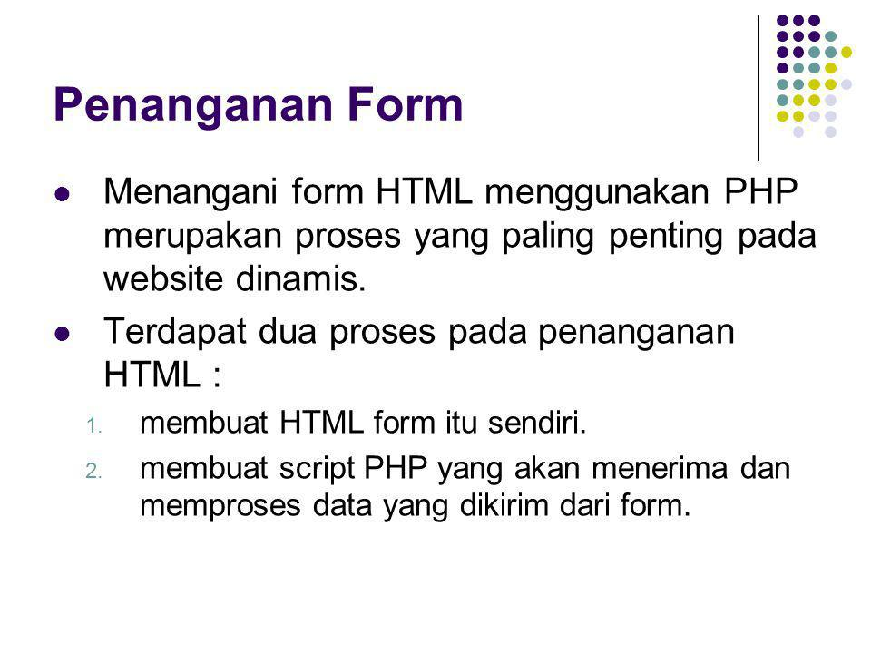 Penanganan Form Menangani form HTML menggunakan PHP merupakan proses yang paling penting pada website dinamis.