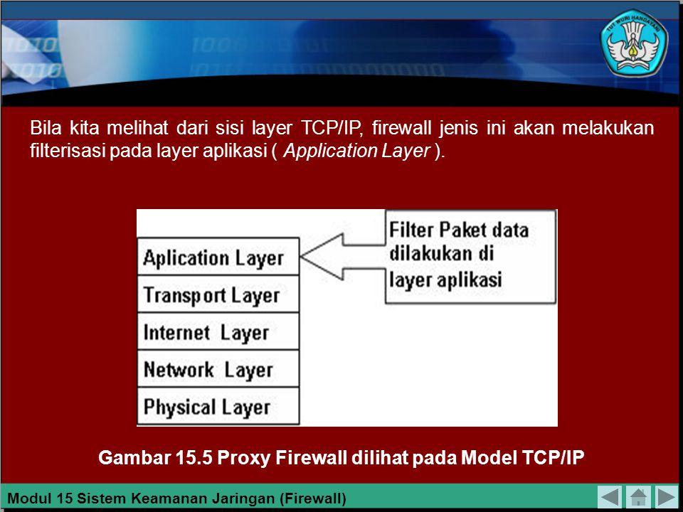 Gambar 15.5 Proxy Firewall dilihat pada Model TCP/IP