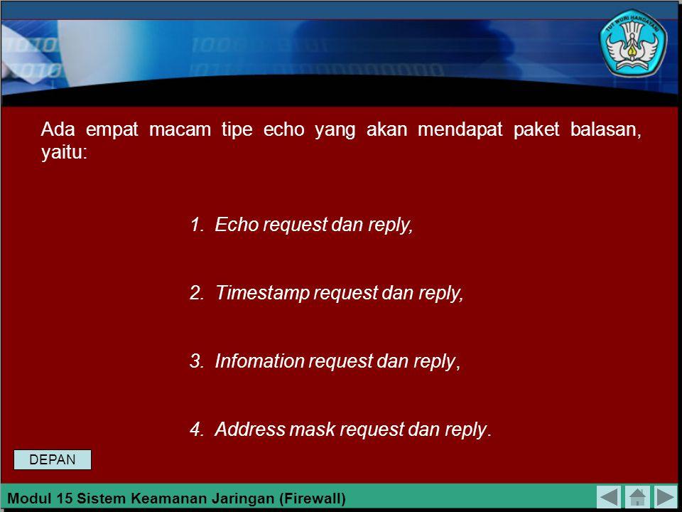 Ada empat macam tipe echo yang akan mendapat paket balasan, yaitu: