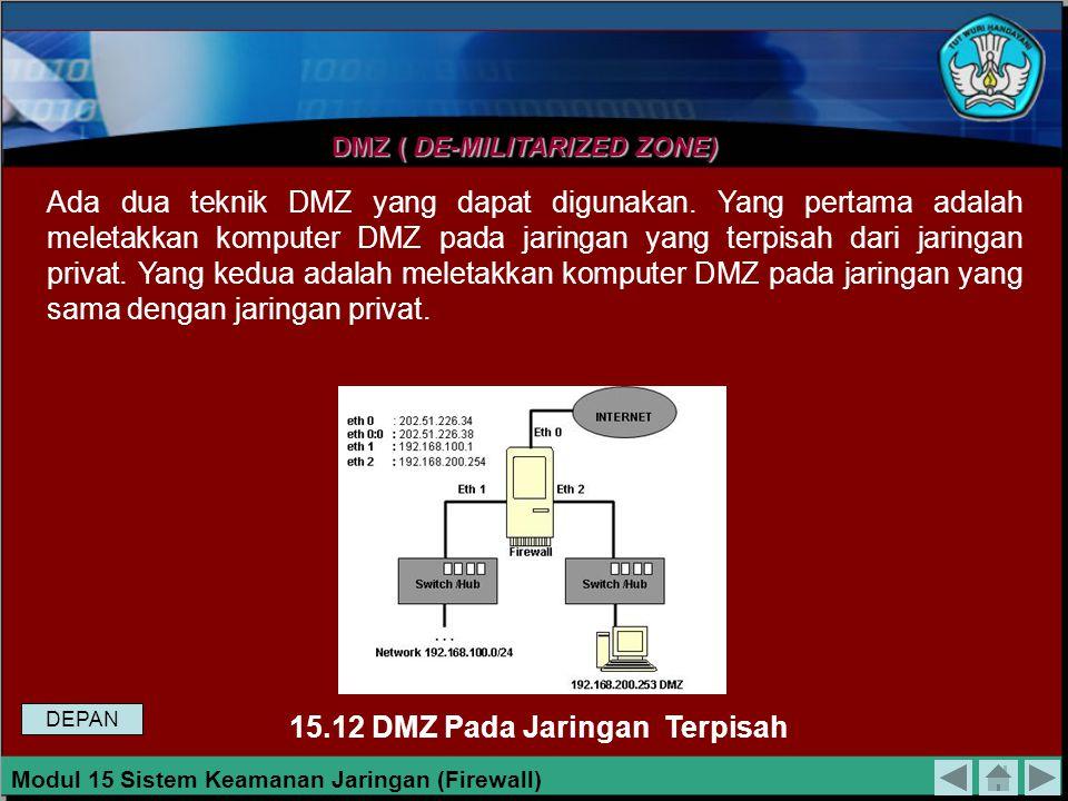 15.12 DMZ Pada Jaringan Terpisah