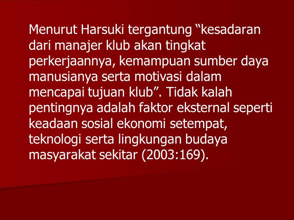 Menurut Harsuki tergantung kesadaran dari manajer klub akan tingkat perkerjaannya, kemampuan sumber daya manusianya serta motivasi dalam mencapai tujuan klub .