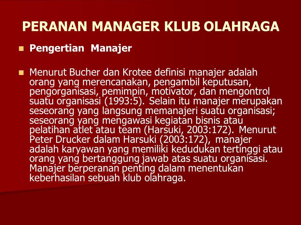 PERANAN MANAGER KLUB OLAHRAGA