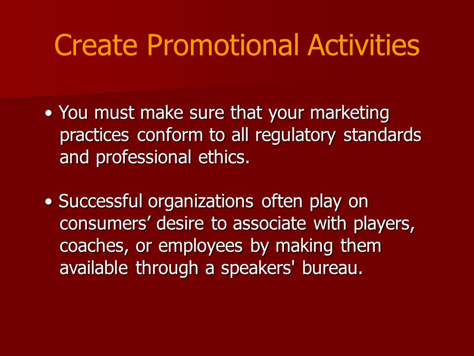 Create Promotional Activities