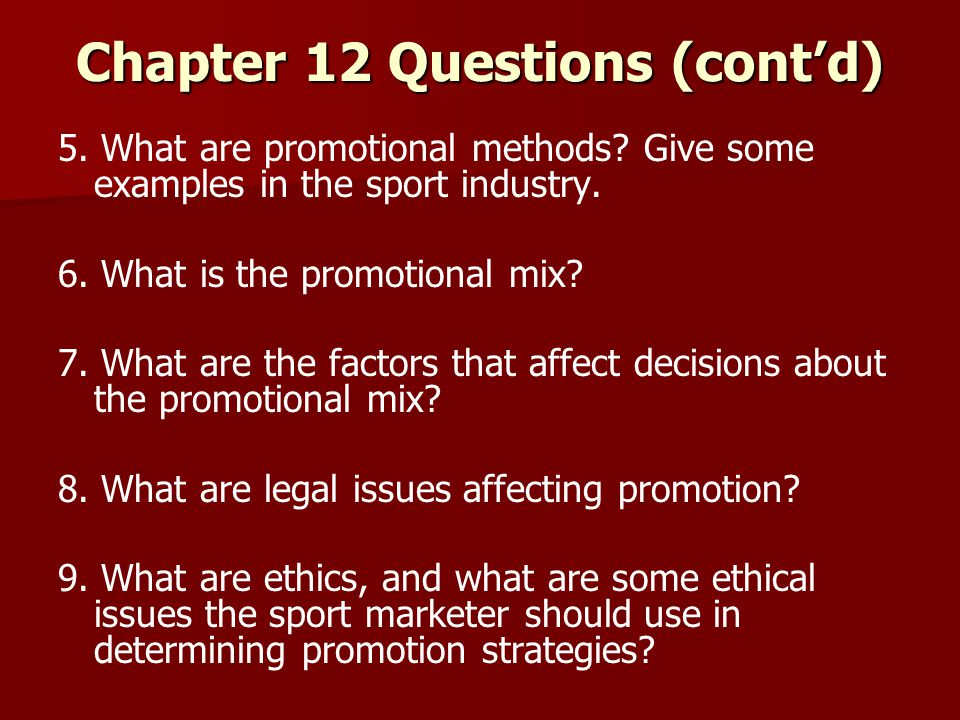 Chapter 12 Questions (cont'd)