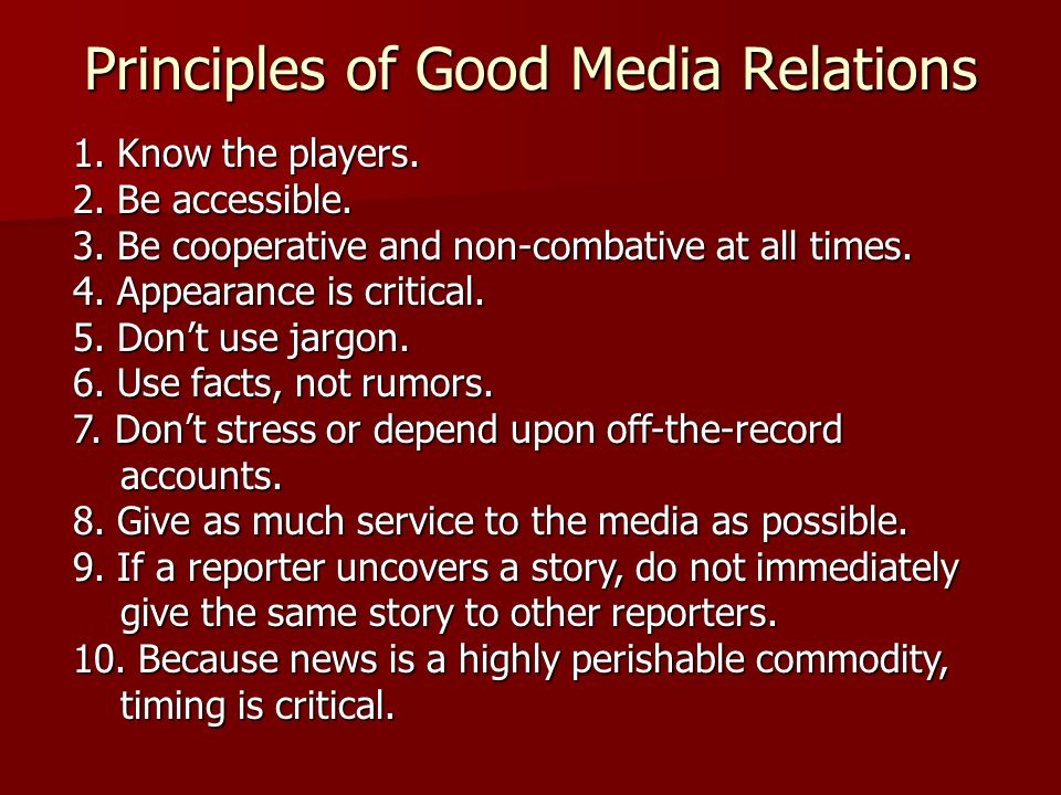 Principles of Good Media Relations