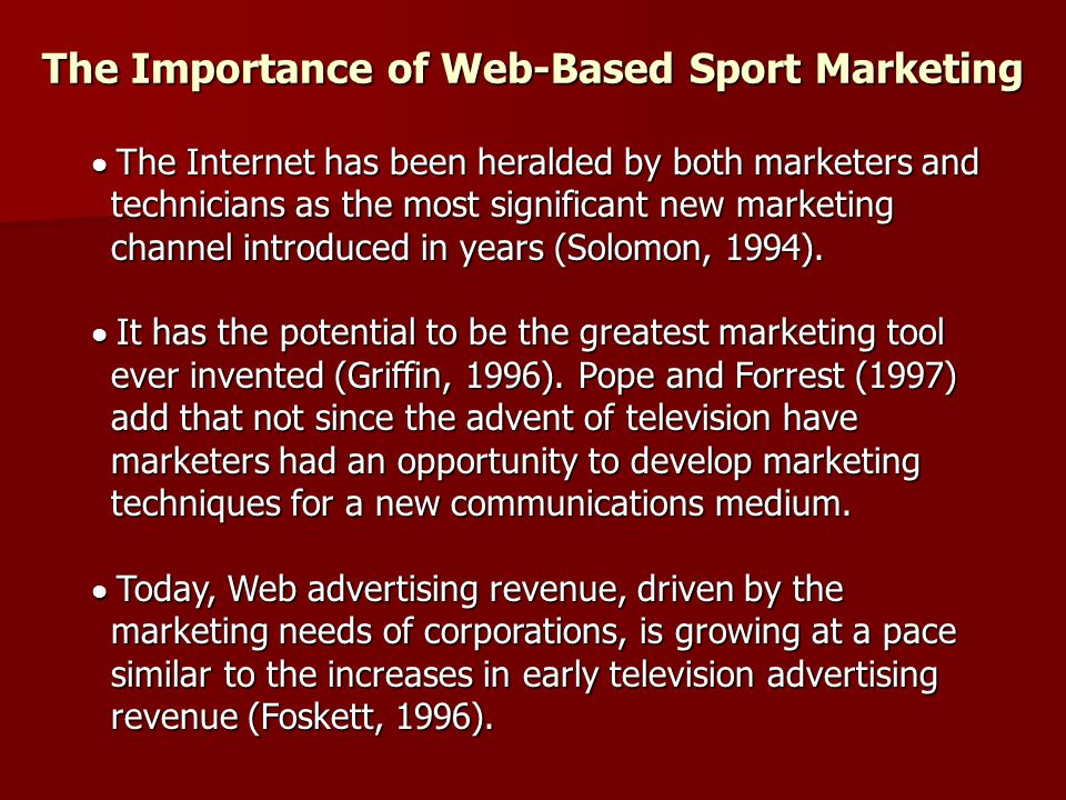 The Importance of Web-Based Sport Marketing