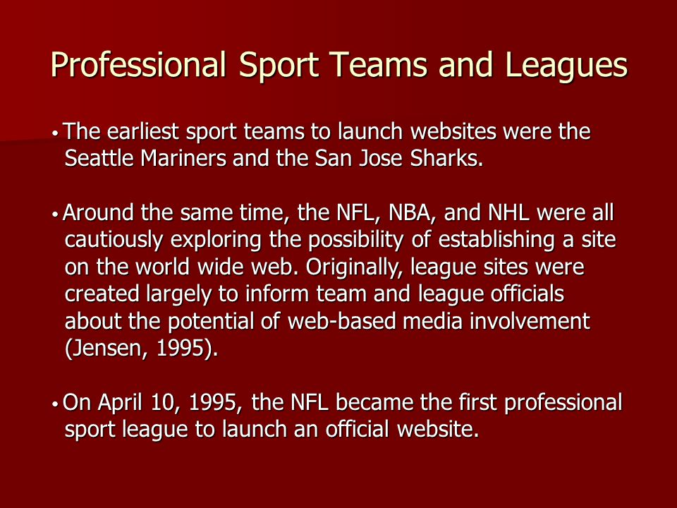 Professional Sport Teams and Leagues