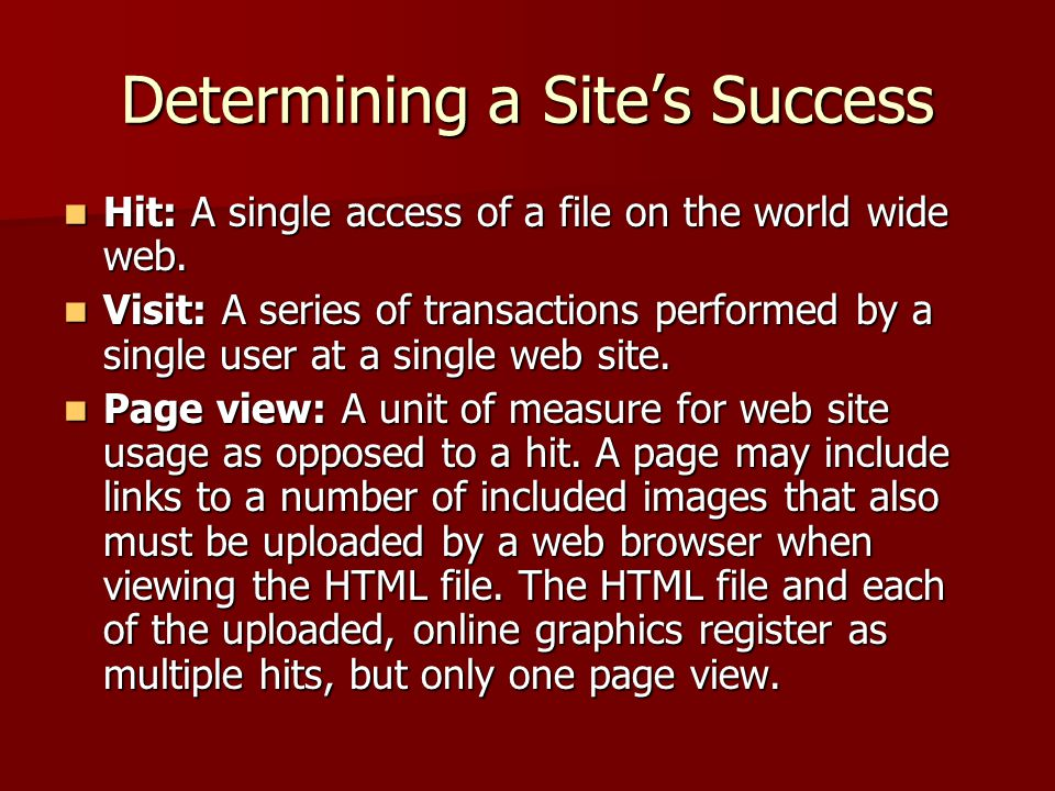 Determining a Site's Success