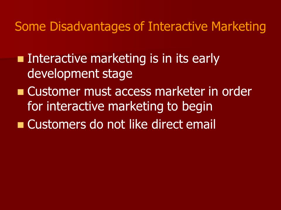 Some Disadvantages of Interactive Marketing