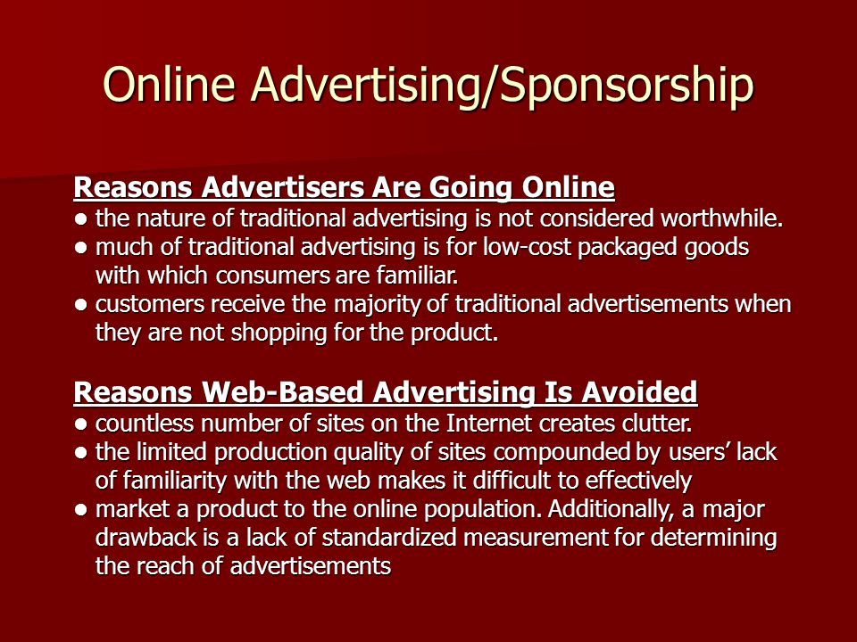 Online Advertising/Sponsorship