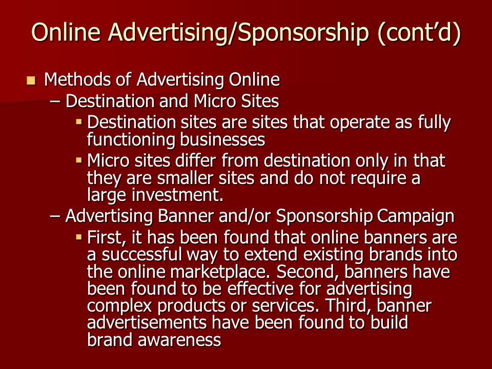 Online Advertising/Sponsorship (cont'd)