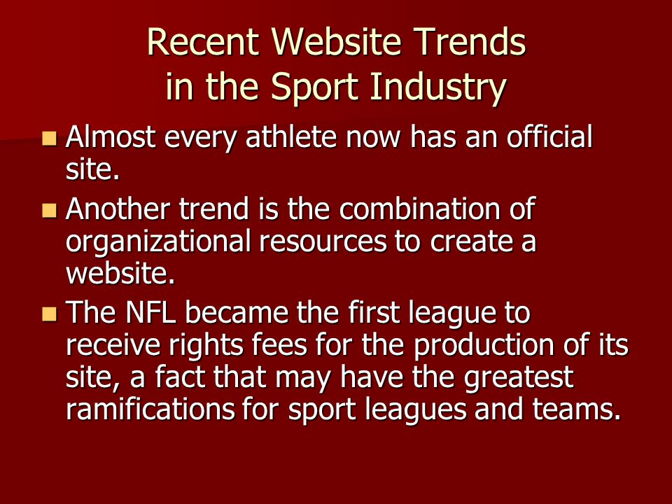 Recent Website Trends in the Sport Industry