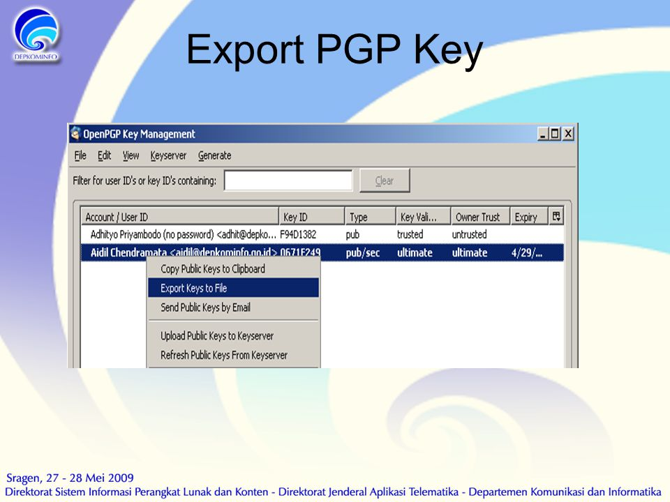 Export PGP Key