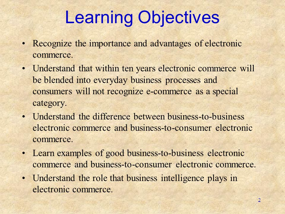 Learning Objectives Recognize the importance and advantages of electronic commerce.