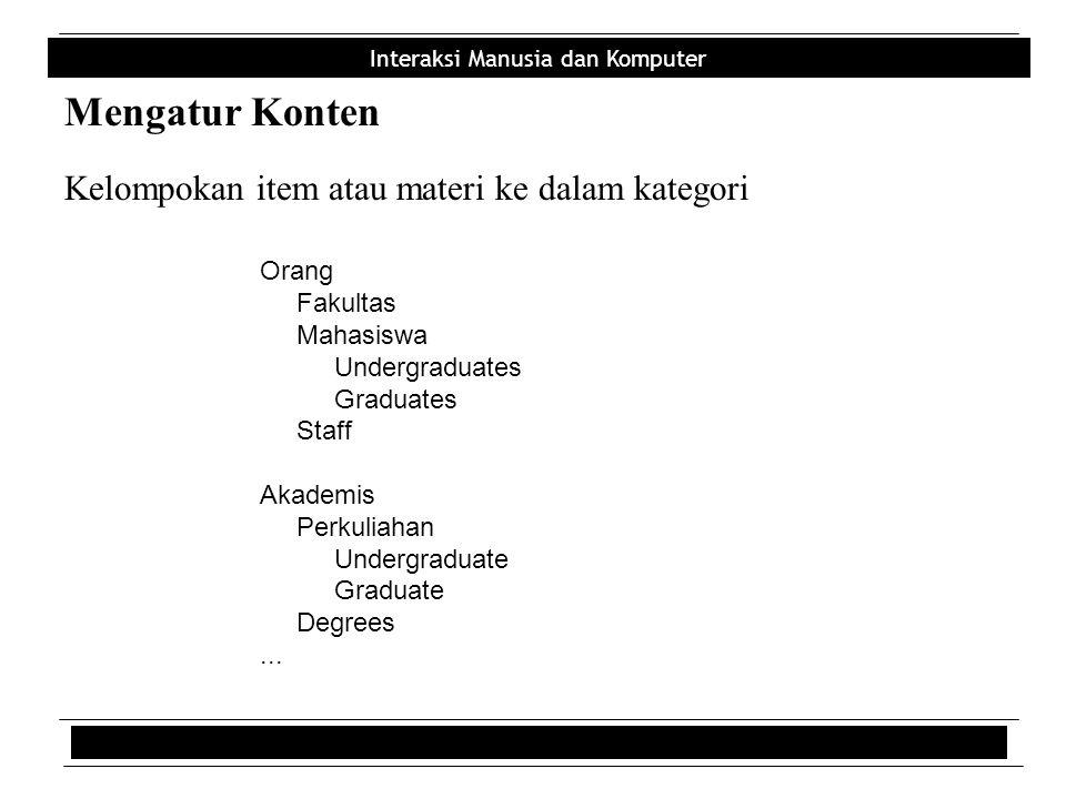 Mengatur Konten Kelompokan item atau materi ke dalam kategori Orang