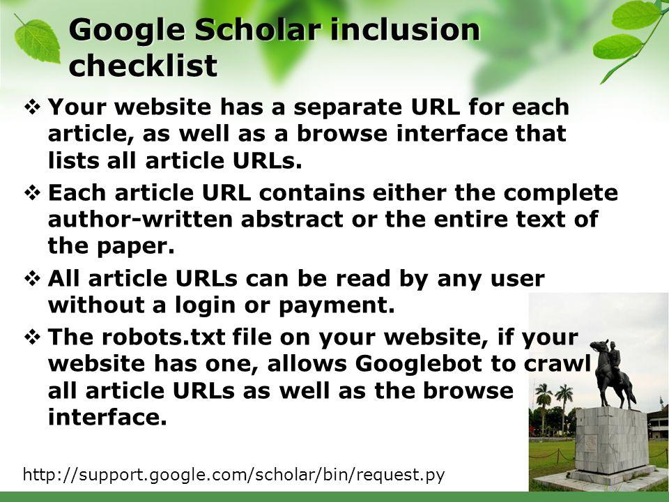Google Scholar inclusion checklist
