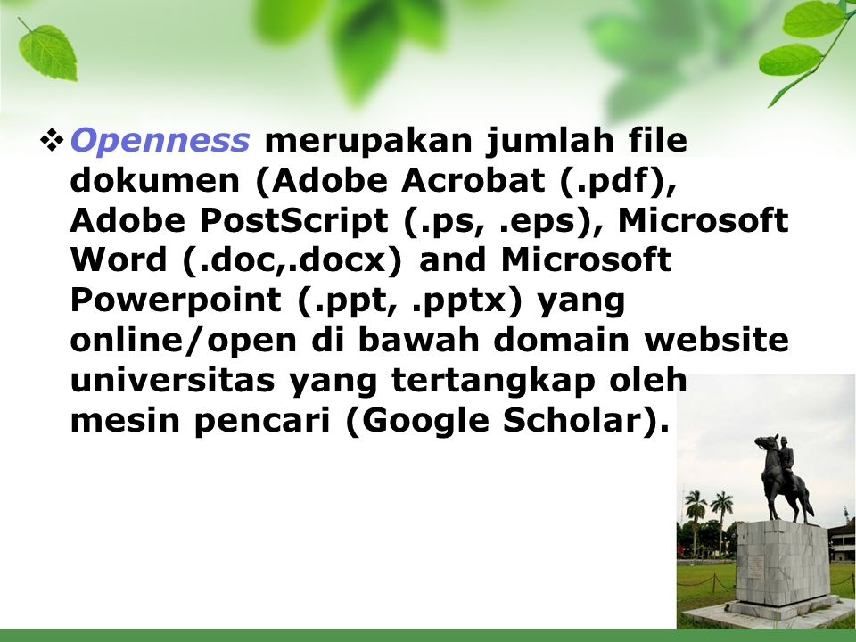 Openness merupakan jumlah file dokumen (Adobe Acrobat (