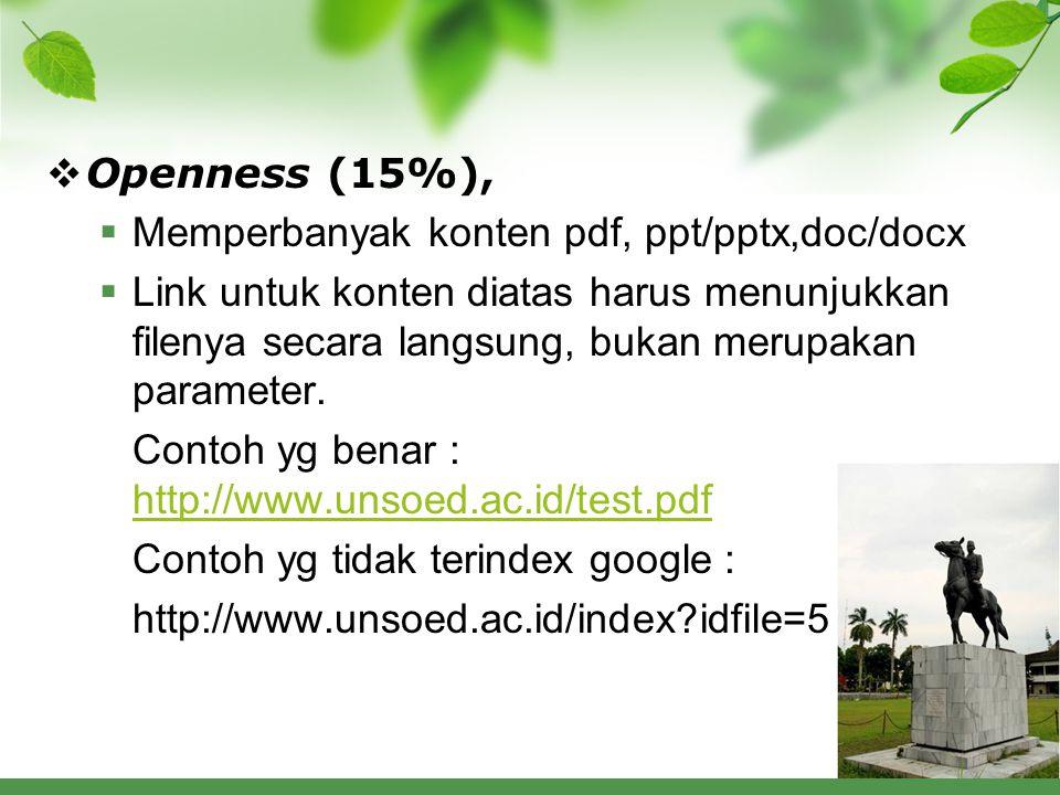 Openness (15%), Memperbanyak konten pdf, ppt/pptx,doc/docx.
