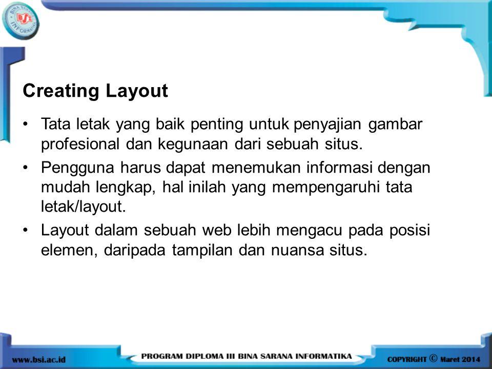 Creating Layout Tata letak yang baik penting untuk penyajian gambar profesional dan kegunaan dari sebuah situs.