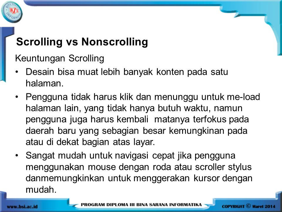 Scrolling vs Nonscrolling