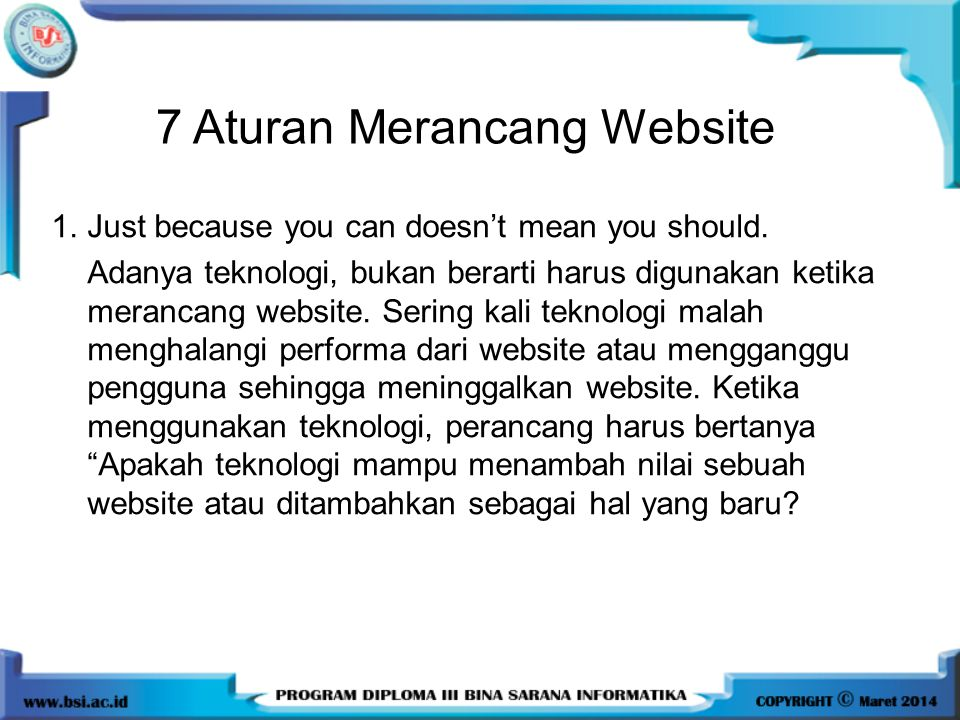 7 Aturan Merancang Website