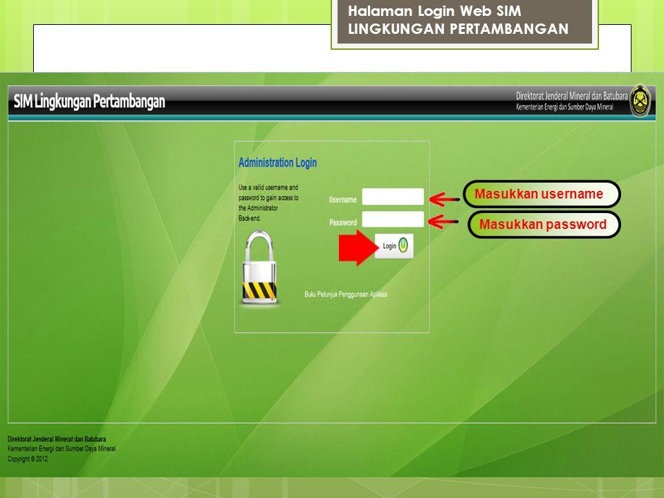 Halaman Login Web SIM LINGKUNGAN PERTAMBANGAN