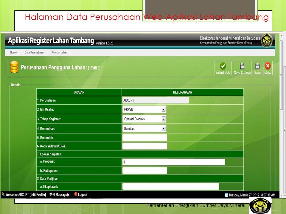 Halaman Data Perusahaan Web Aplikasi Lahan Tambang