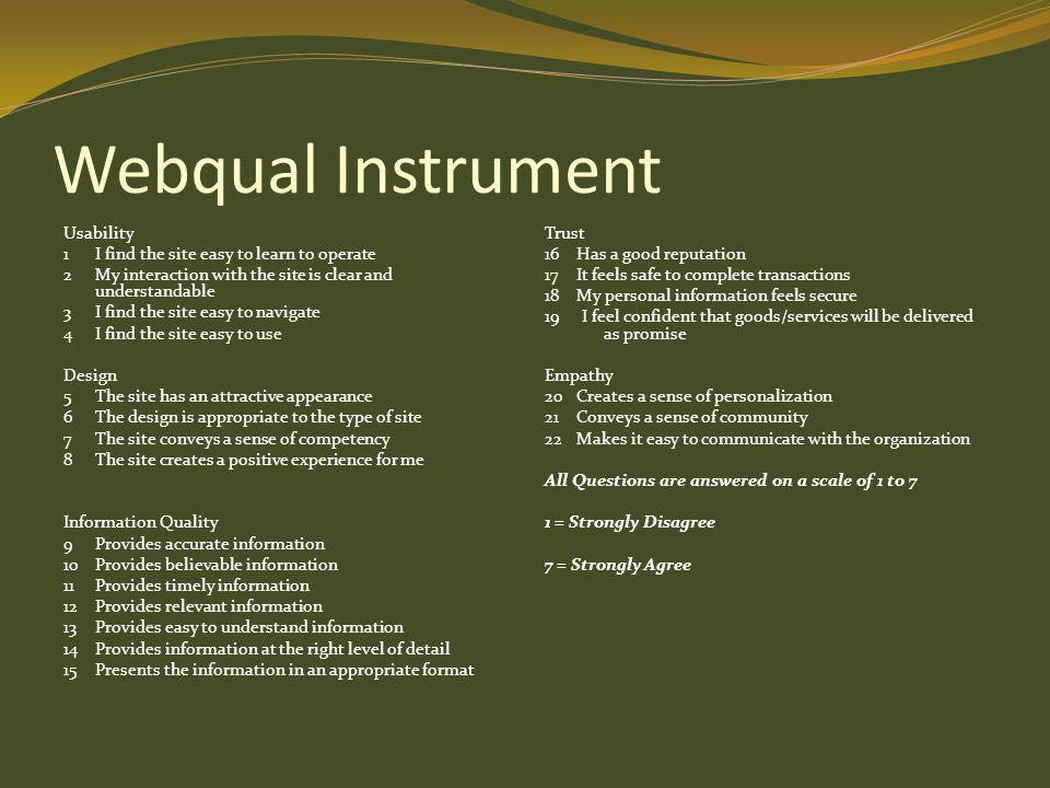 Webqual Instrument