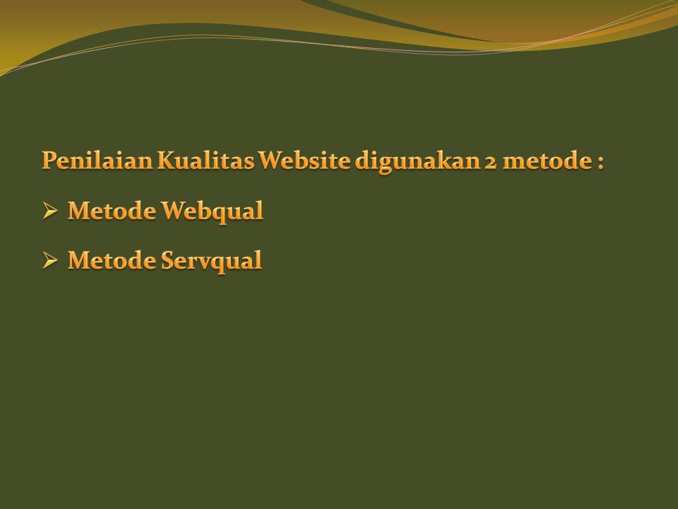 Penilaian Kualitas Website digunakan 2 metode :
