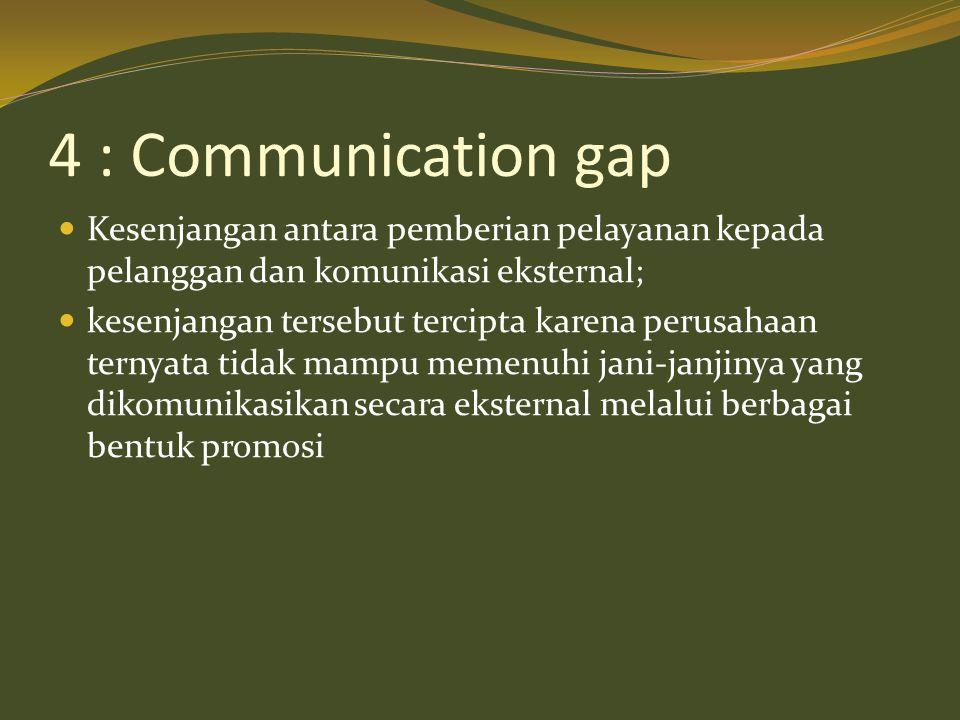 4 : Communication gap Kesenjangan antara pemberian pelayanan kepada pelanggan dan komunikasi eksternal;