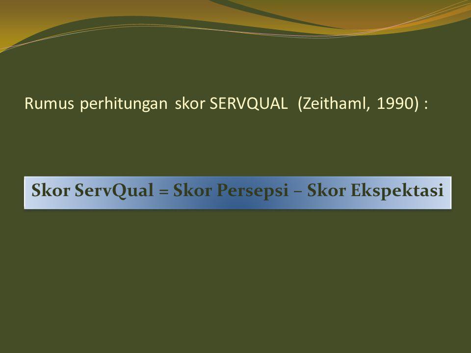 Rumus perhitungan skor SERVQUAL (Zeithaml, 1990) :