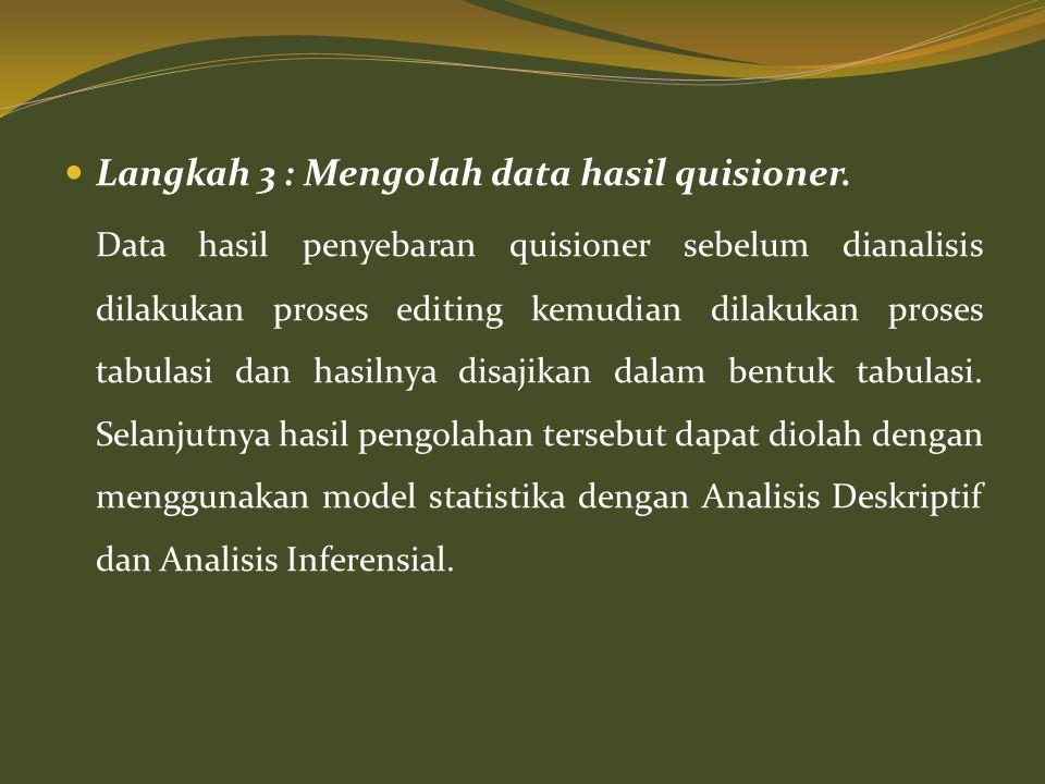 Langkah 3 : Mengolah data hasil quisioner.