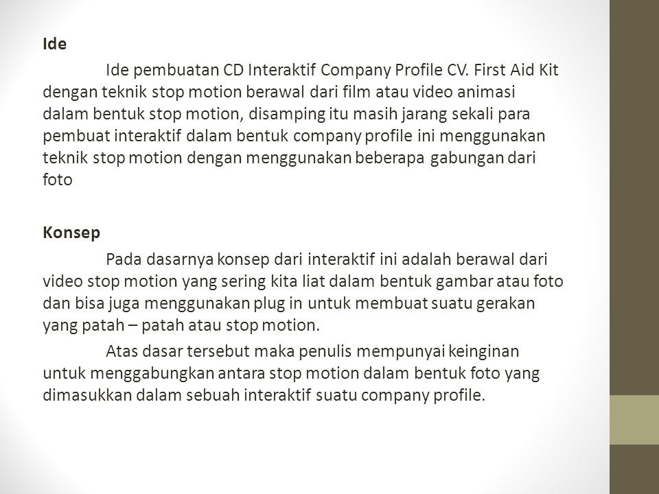 Ide Ide pembuatan CD Interaktif Company Profile CV
